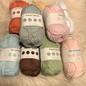 Lot of 9 Paintbox Cotton Aran Yarn